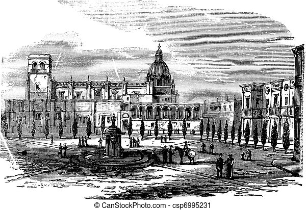 Historic cathedral building at Guadalajara, Mexico vintage engraving - csp6995231