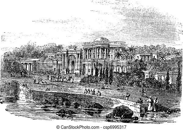 British Residency or Koti Residency in Hyderabad India vintage engraving - csp6995317