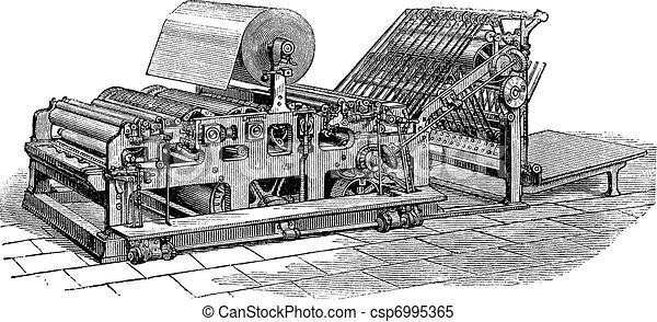 Hoe web perfecting press vintage engraving - csp6995365