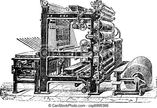 Marinoni Rotary printing press vintage engraving - csp6995366