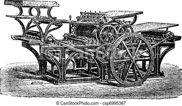 Marinoni double printing press vintage engraving - csp6995367