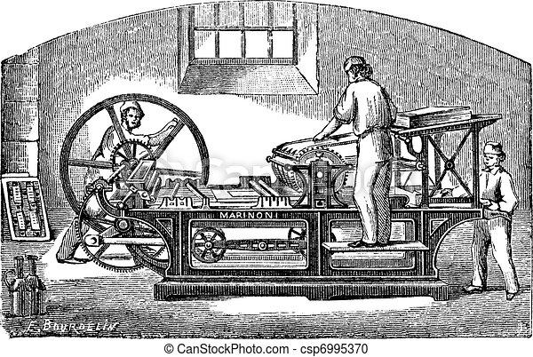 Marinoni  printing press vintage engraving - csp6995370