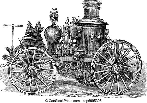 Amoskeag Steam-powered Fire Engine vintage engraving - csp6995395