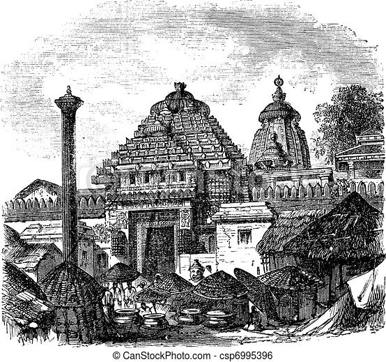 Jagannath temple in Puri Odisha India vintage engraving - csp6995396