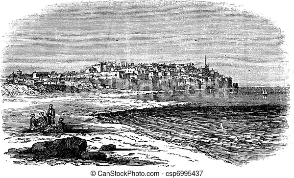 Jaffa in Israel vintage engraving - csp6995437