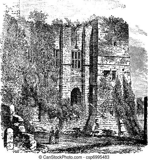 Cesar's tower at Kenilworth Castle, Warwickshire, United Kingdom, vintage engraving. - csp6995483