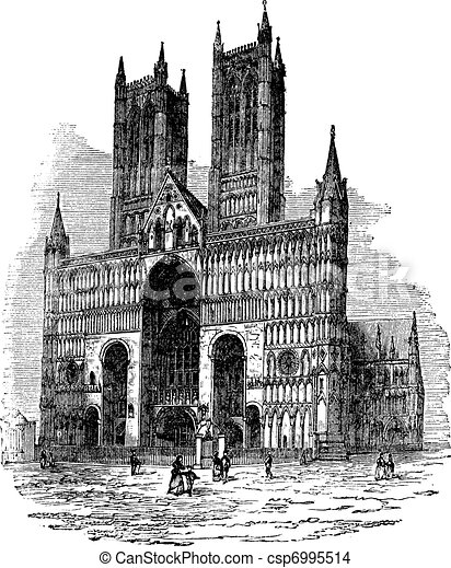 Lincoln Cathedral or The Cathedral Church of the Blessed Virgin Mary of Lincoln. vintage engraving - csp6995514