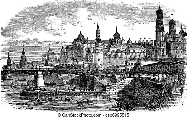Moscow Kremlin Drawing The Moscow Kremlin And River
