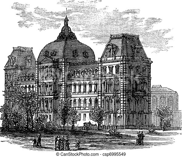 Old St. Louis County Courthouse or Old Courthouse in St. Louis Missouri USA vintage engraving - csp6995549