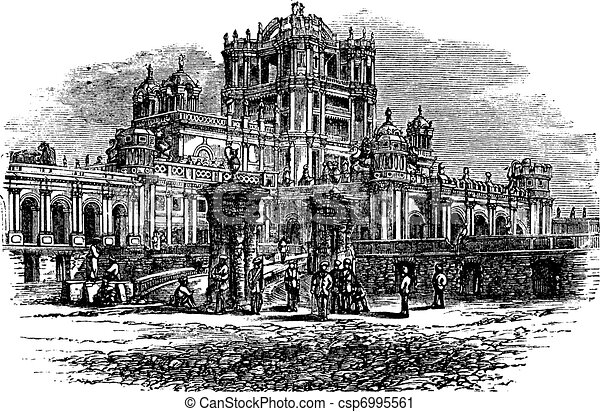 La Martiniere College in Lucknow Uttar Pradesh India vintage engraving - csp6995561