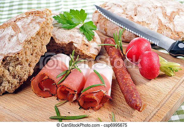 Snack with bacon and sausage - csp6995675