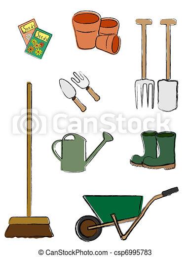 Vecteurs de jardinage outils isol a vecteur for Dessin outils jardinage