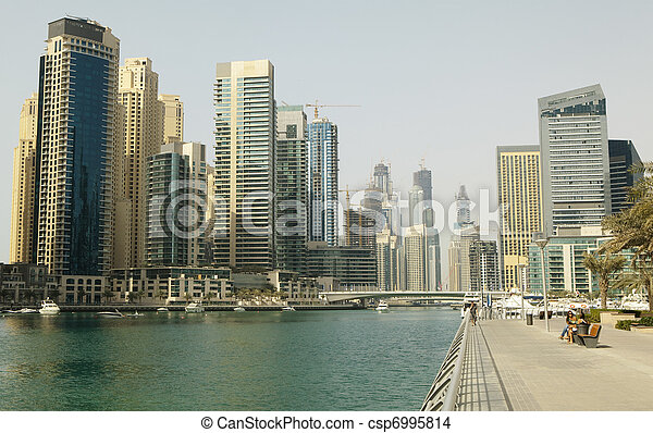 Town scape at summer. Panoramic scene, Dubai. - csp6995814