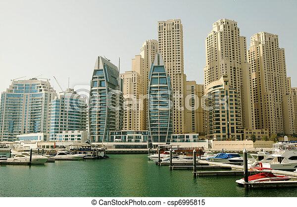 Town scape at summer. Panoramic scene, Dubai. - csp6995815