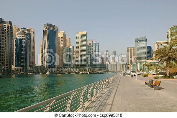 Town scape at summer. Panoramic scene, Dubai. - csp6995818