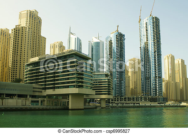 Town scape at summer. Panoramic scene, Dubai. - csp6995827