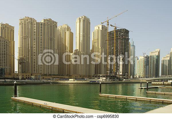 Town scape at summer. Panoramic scene, Dubai. - csp6995830