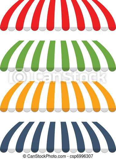 four different colored vector awnings - csp6996307