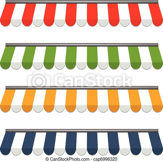 four different colored vector awnings - csp6996320
