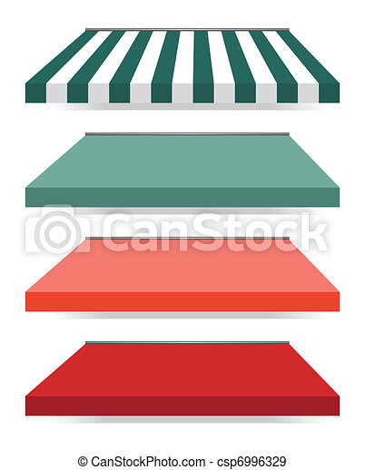 four different colored vector awnings - csp6996329
