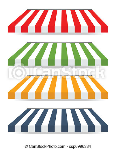 Four different colored vector awnings - csp6996334