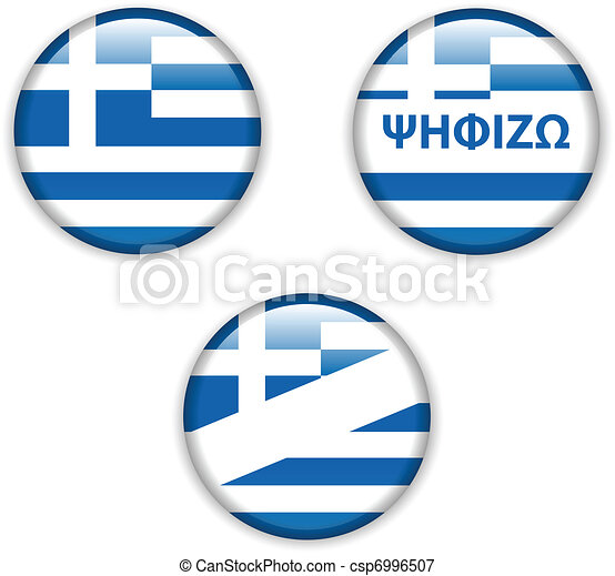 empty vote badge button for greece election - csp6996507