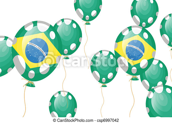 green balloon of brazilian flag with white spots - csp6997042