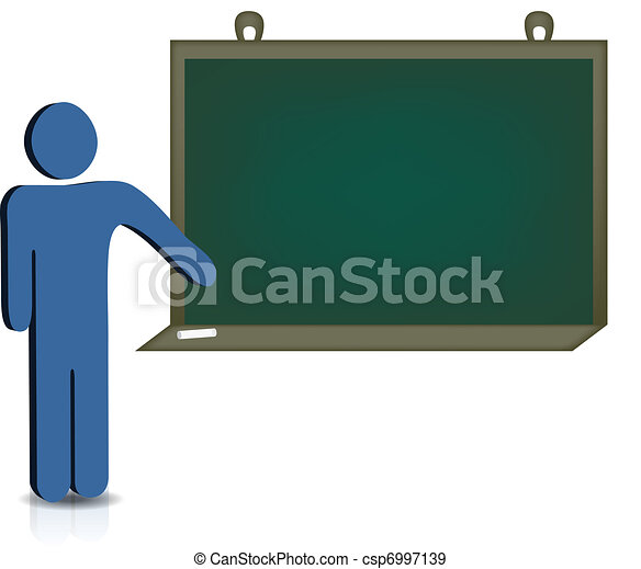 man pointing to an empty chalkboard - csp6997139