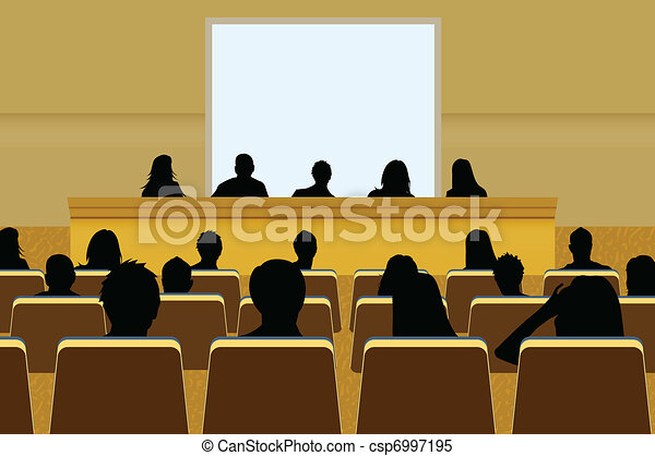 a person doing a presentation at a business conference or product marketing in front of crowd to audience. add your copy text on blank projection screen.  - csp6997195