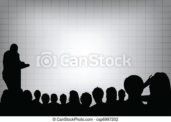 a person doing a presentation at a business conference or product marketing in front of crowd to audience. add your copy text on blank projection screen.  - csp6997202