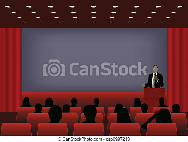 a person doing a presentation at a business conference or product marketing in front of crowd to audience. add your copy text on blank projection screen.