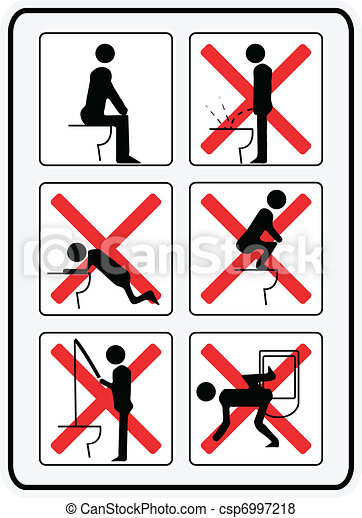 illustration signs  how not to use a toilette - csp6997218