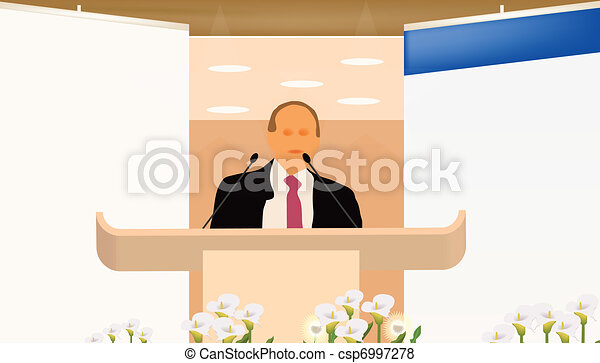 a person doing a presentation at a business conference or product marketing in front of crowd to audience. add your text on blank screen - csp6997278