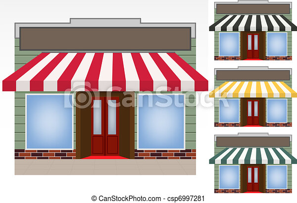 four different color vector awnings - csp6997281