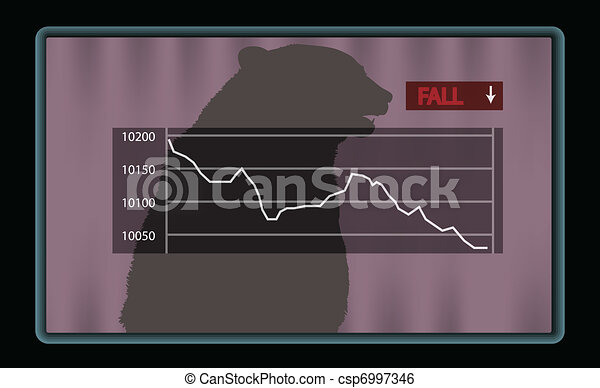 Stock chart with red fall indicator - csp6997346