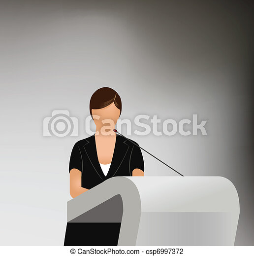 a woman doing a presentation - csp6997372