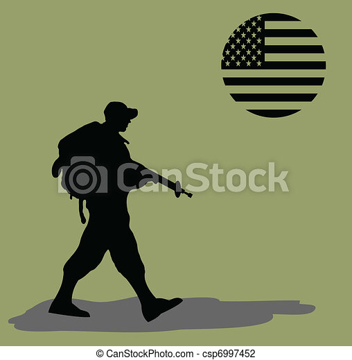 Silhouette of an army soldier  - csp6997452