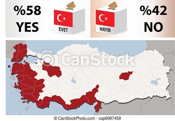 Map Of Turkey with 12 September 2010 referendum results - csp6997459