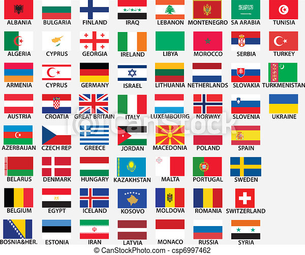 national flags of all european countries - csp6997462