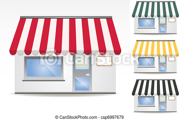 four different color vector awnings - csp6997679