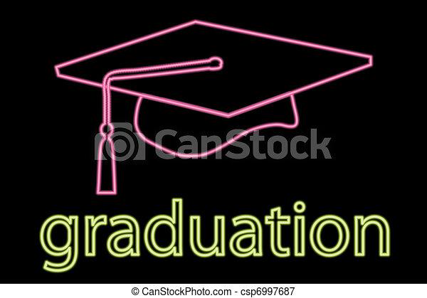 Neon graduation cap symbol - csp6997687