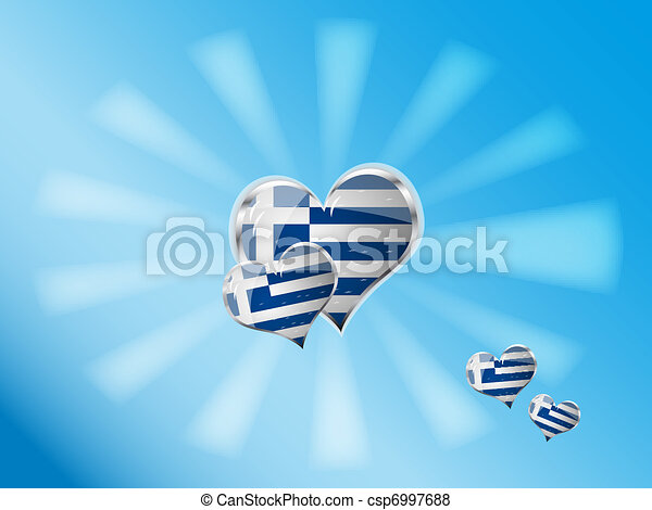 flag of greece in heart shape - csp6997688