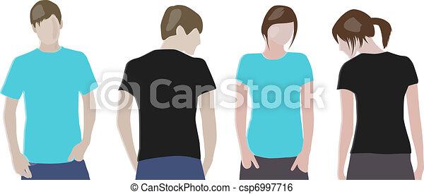 Black, Orange T-shirt design templates (front & back) on male and female models - csp6997716