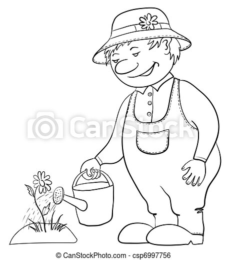 Gardener waters a flower, contour - csp6997756