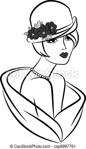 Vintage fashion girl in hat. - csp6997761