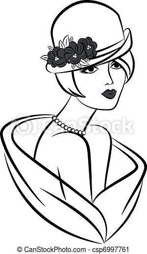 Vintage fashion girl in hat. - csp6997761