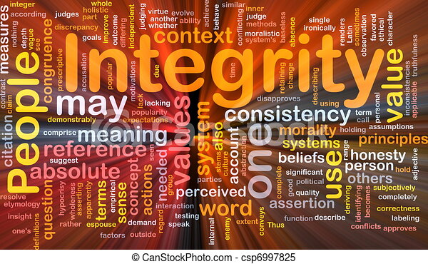 Integrity principles background concept glowing - csp6997825