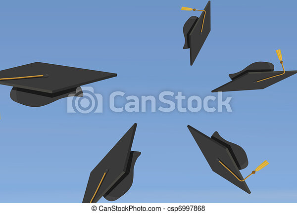 Graduation Caps Thrown in the Air - csp6997868