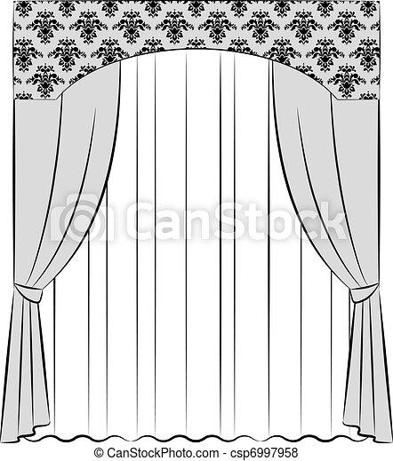 Stock de ilustraciones de vendimia cortina el vendimia - Dibujos para cortinas ...