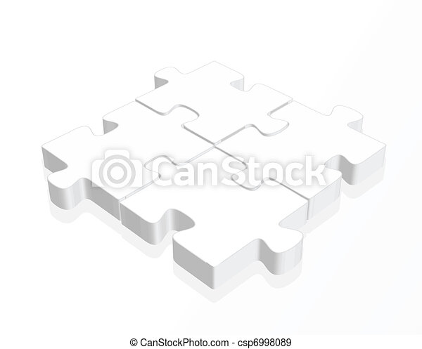white  puzzle pieces with a reflection - csp6998089